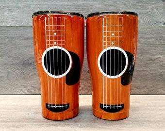 Guitar Tumbler ~ Acoustic Guitar Tumbler ~ Guitar Player Gift ~ Alcohol Ink Tumbler ~ Wood Grain Tumbler ~ 20 or 30 oz. HOGG Tumbler