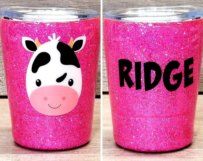 Featured listing image: Personalized Kids Glitter Tumbler ~ Cow