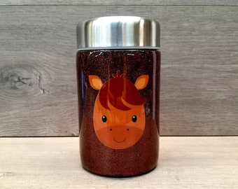 Kids Thermos ~ Kids Lunch Box ~ Ready to Ship ~ Horse ~ Stainless Steel Thermos ~ Zero Waste Lunch ~ Double Wall