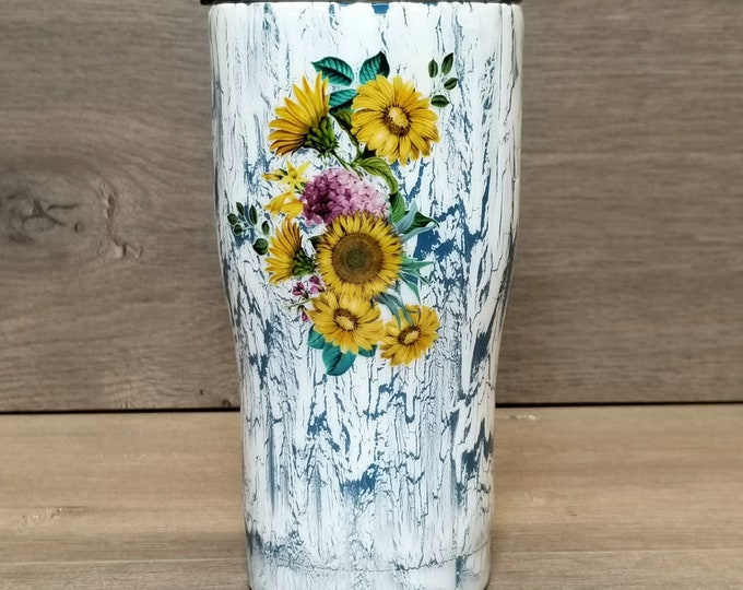 Featured listing image: Personalized Sunflower Crackle Tumbler