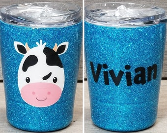 Personalized Kids Glitter Tumbler ~ Cow