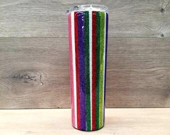 Glitter Tumbler ~ Serape Tumbler ~ Striped Tumbler ~ 30 oz. HOGG Skinny Tumbler
