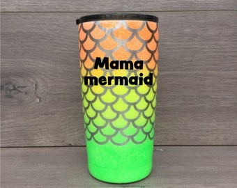 Glitter Tumbler ~ Personalized Mermaid Scale Tumbler ~ Mermaid Tumbler ~ 20 oz. HOGG Tumbler