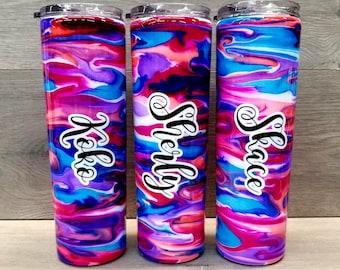 Alcohol Ink Tumbler ~ Swirl Tumbler ~ Alcohol Ink Swirl Tumbler ~ 30 oz. HOGG Skinny Tumbler