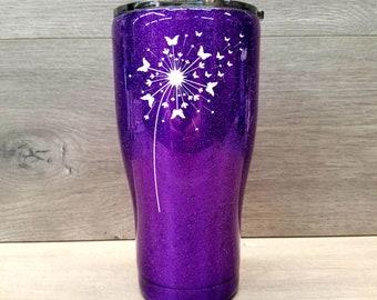 Glitter Tumbler ~ Butterfly Dandelion Tumbler ~ Dandelion Tumbler ~ Personalized Glitter Tumbler ~ 30 oz HOGG Tumbler