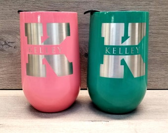 Personalized Wine Tumbler ~ Engraved Wine Glass ~ Wine Lover Gift ~ Custom Wine Tumbler ~ Powder Coated Tumbler ~ Wine Gifts for Women