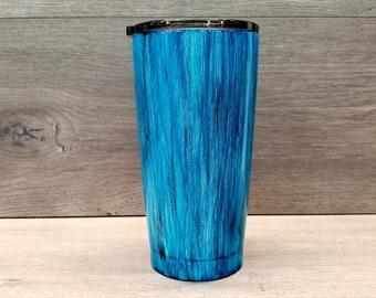 Personalized Blue Woodgrain Tumbler