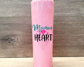 Personalized Skinny Glitter Tumbler ~ Mermaid at Heart