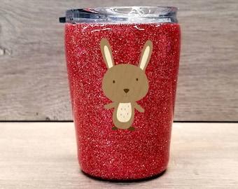 Kids Personalized Glitter Tumbler ~ Rabbit