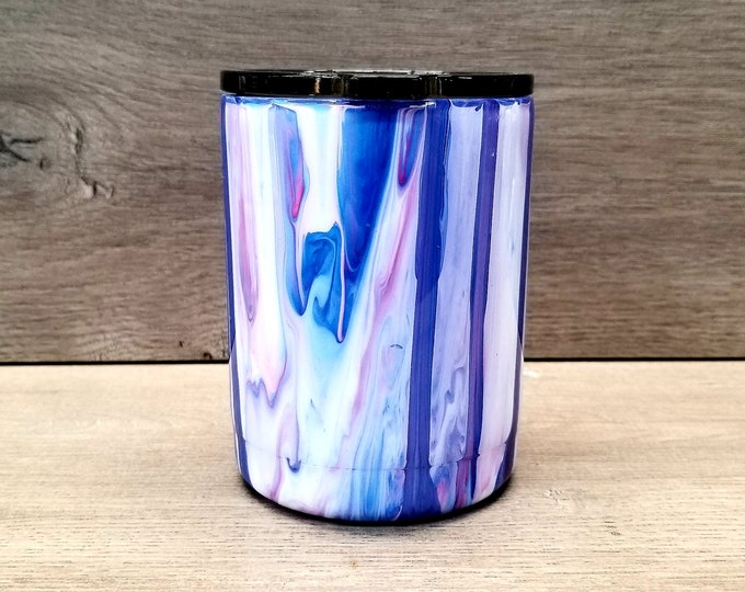 Featured listing image: Acrylic Paint Tumbler ~ Ready to Ship ~ Dirty Pour Tumbler ~ Paint Pour Tumbler ~ Lowball Tumbler ~ 10 oz. HOGG Tumbler