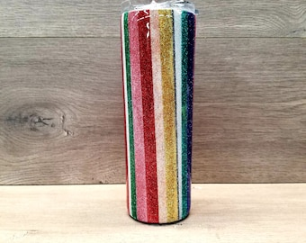 Glitter Tumbler ~ Ready to Ship ~ Personalized Serape Tumbler ~ Striped Tumbler ~ 20 oz. HOGG Skinny Tumbler