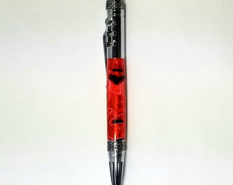 Handcrafted Pen ~ Gearshift Pen ~ Antique Pewter and Acrylic