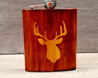 Wood Grain Flask ~ Hunting Flask ~ Alcohol Ink Flask ~ Woodgrain Flask ~ Deer Flask ~ Gifts for Hunters