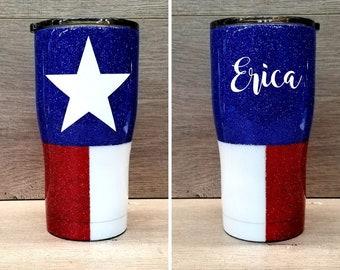 Glitter Tumbler ~ Texas Flag Tumbler ~ Personalized Glitter Tumbler ~ Texas Flag Glitter Tumbler ~ 20 oz. HOGG Tumbler