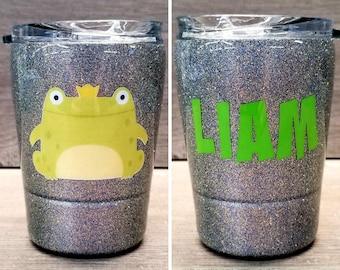 Personalized Kids Glitter Tumbler ~ Frog