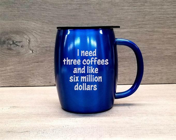 Featured listing image: Personalized Coffee Mug ~ Stainless Steel Coffee Mug ~ Insulated Coffee Mug ~ Powder Coated Coffee Mug ~ 14 oz. HOGG Tumbler