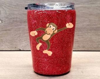 Kids Personalized Glitter Tumbler ~ Monkey