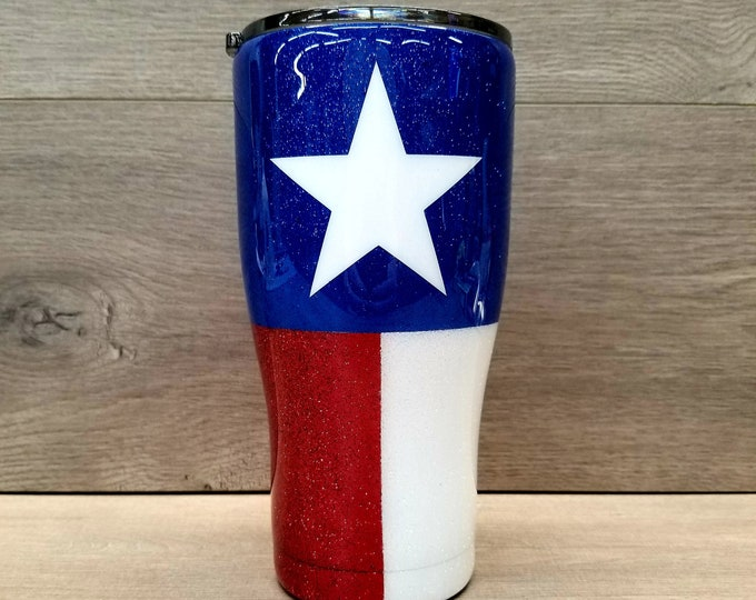 Featured listing image: Personalized Texas Flag Glitter Tumbler
