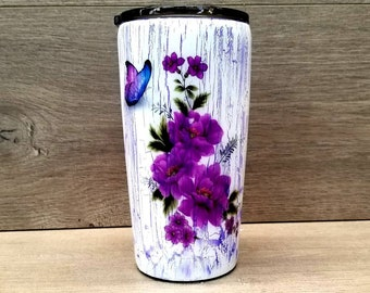 Crackle Paint Tumbler ~ Ready to Ship ~ Crackle Tumbler ~ Wood Grain Tumbler ~ Wood Tumbler ~ Woodgrain Tumbler ~ HOGG Tumbler