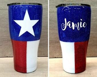 Glitter Tumbler ~ Texas Flag Tumbler ~ Personalized Glitter Tumbler ~ Texas Flag Glitter Tumbler ~ 30 oz. HOGG Tumbler