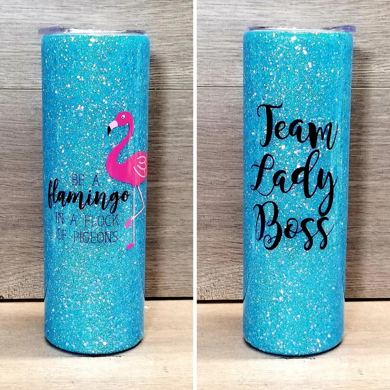 Personalized Glitter Tumbler  Be a Flamingo in a Flock of image 0
