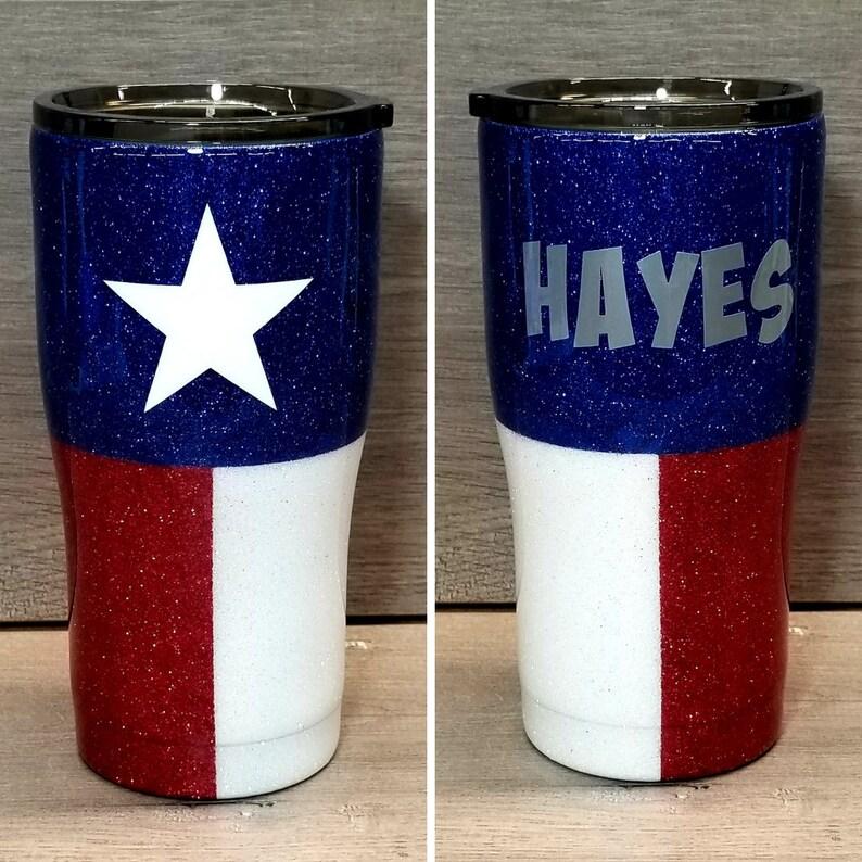 Personalized Texas Flag Glitter Tumbler image 0