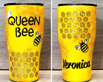Queen Bee Tumbler ~ Personalized Glitter Tumbler