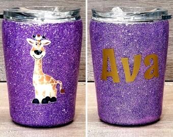 Personalized Kids Glitter Tumbler ~ Giraffe
