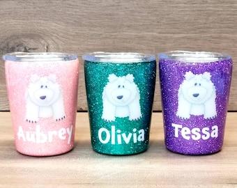 Personalized Kids Glitter Tumbler ~ Polar Bear