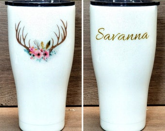 Personalized Glitter Tumbler ~ Floral Antlers