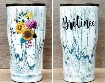 Personalized Sunflower Crackle Tumbler