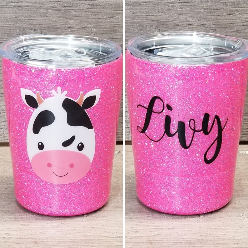 Personalized Kids Glitter Tumbler  Cow image 0