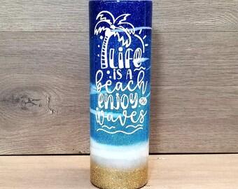 Personalized Beach Glitter Tumbler