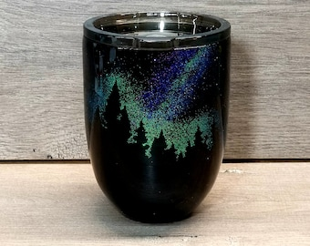 Northern Lights Glitter Wine Tumbler