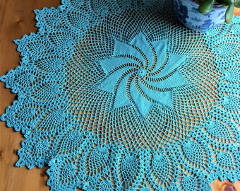 Crochet doily; Pinwheel Pineapple doily; Table Topper; Pinwheel Doily;  Aqua Blue Doily; Round Table Decor;  Home Accents; Home Accessories
