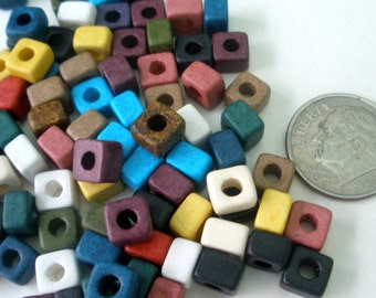 20 Mykonos Square Beads/ Squared Bead Colors/ Ceramic Greek Handcrafted Beads/ Greece B104