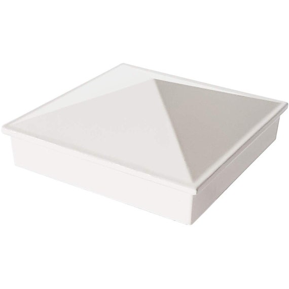 """Pressure Fit White 2/"""" x 2/"""" Aluminium Pyramid Post Cap for Metal Posts"""