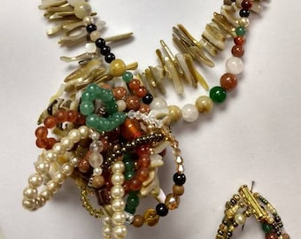 Mixed stone and Shell necklace set