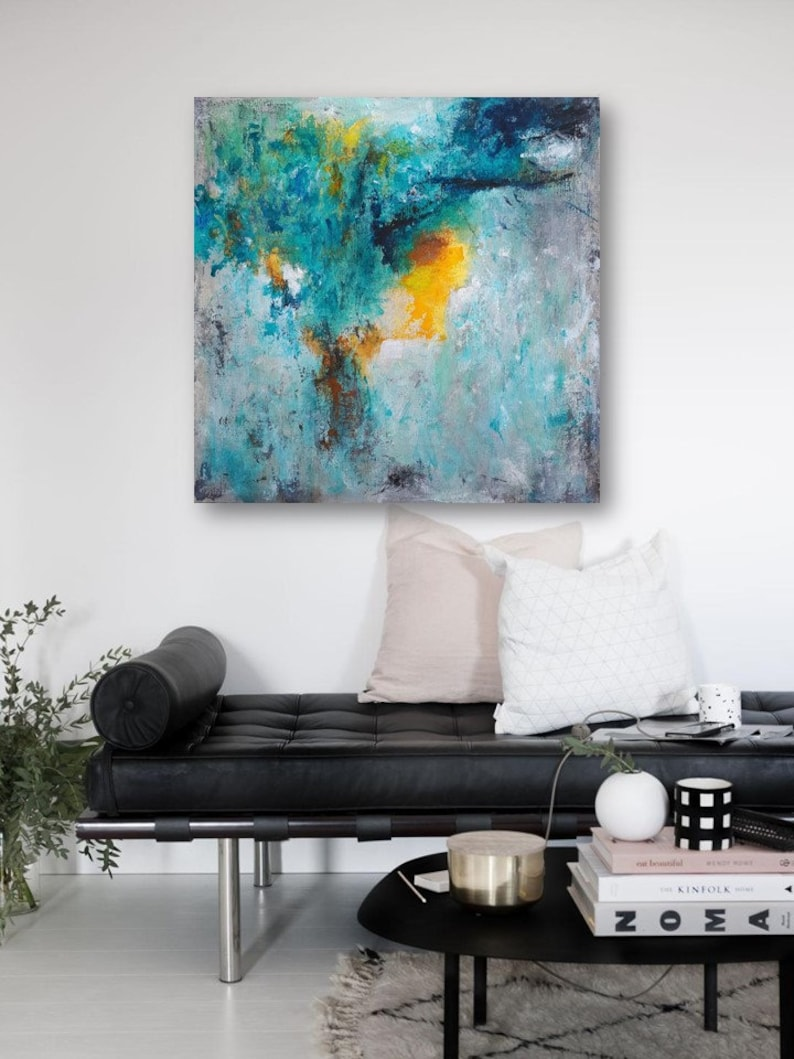 Original abstract Painting, acrylic on canvas, Contemporary art, wall  decor, blue, yellow painting