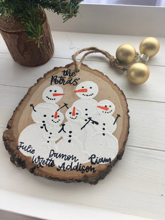 Snowman Family Wood Ornament Hand Painted Wood Slice Etsy