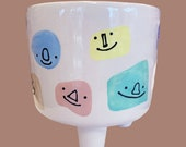 Smily Face Footed Planter Hand-Painted Colorful Plant Holder with Cute Faces
