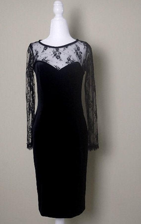 Black Lace Velvet Midi Dress
