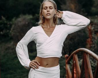 Wrap Bohemian Top/Puff Sleeves Blouse/Wide Sleeve Boho Top/Goddess Crop Top/Kimono Top/White