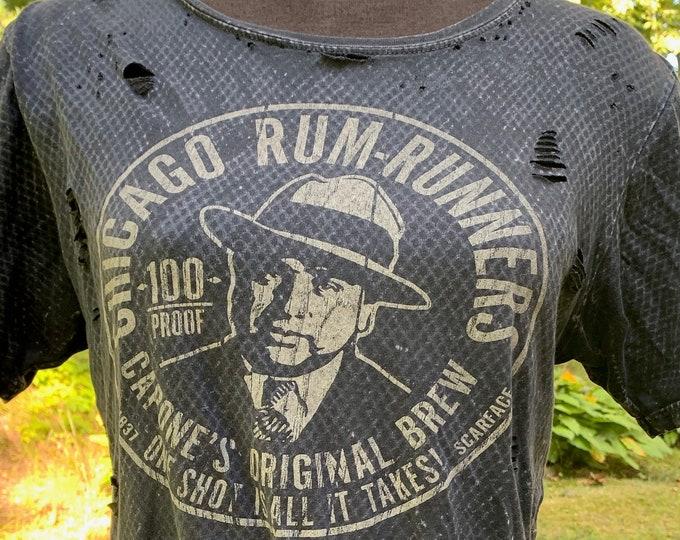 Distressed Al Capone Chicago Rum Runners Original Brew (S) Crime Mafia Scarface Chicago Alcatraz Mug Shot Lucky Luciano Liquor Beer Ale Shot