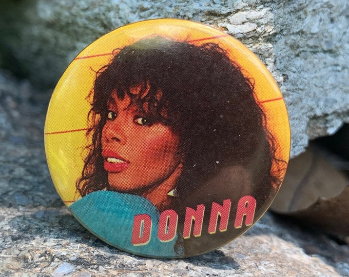 Vintage Donna Summer Pin Badge Pinback Pins Culture Club Lady Gaga Tears for Fears Duran Duran Disco Bee Gees Cher Saturday Night Fever