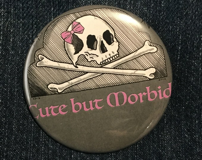 Cute But Morbid by ArtByKevG  Pin Badge Baphomet Occult Salem Gravestone witchcraft gothic gothic Pentagram Tarot Ouija Witch Witchy Horror