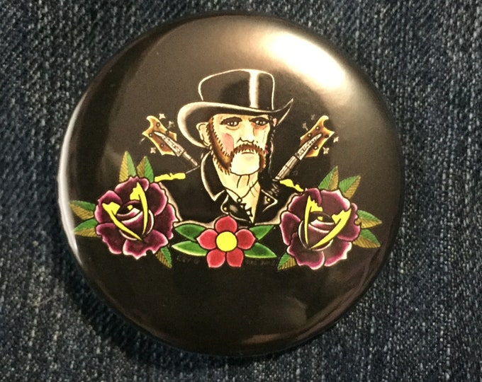 Tattoo Flash Pin Badge pinback original artwork by Art BY Kev G Heavy Metal collectibles metal metalhead Pins rocknroll hard rock Lemmy art