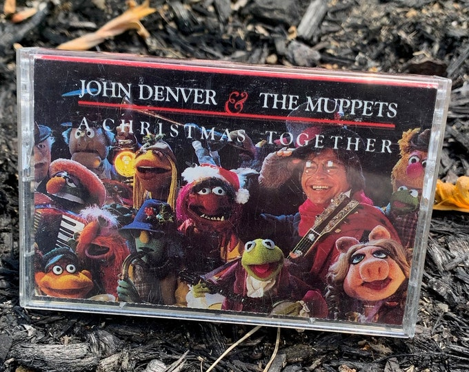 Vintage 1988 John Denver & The Muppets A Christmas Together Cassette Tape Miss Piggy Kermit The Frog Fozzie Bear Cat Stevens Neil Diamond