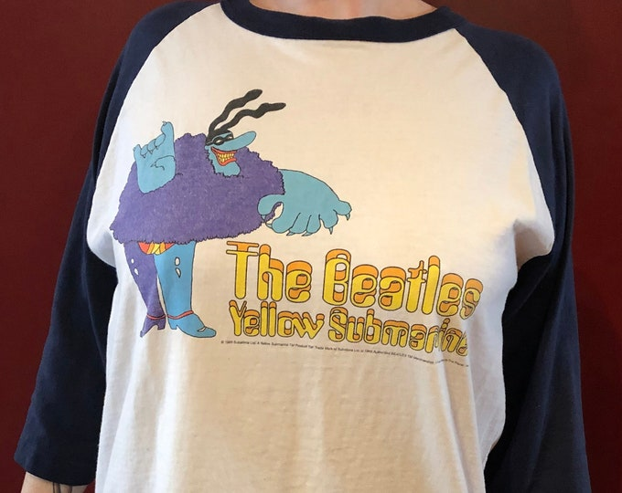 VINTAGE BEATLES 1999 Yellow Submarine Blue Meanie Band Shirt XL John Lennon Paul McCartney Ringo Starr George Harrison Fab4 Cartoons