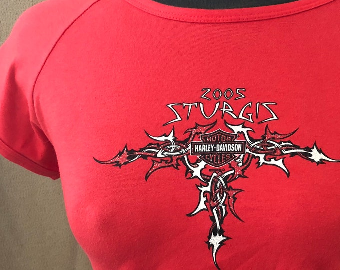 Womens Harley Davidson  Devils Tower Sturgis Motorcycle T-shirt Biker Sz. Med Bikergirl Biker Bikers Motorcycles Bike Run Outlaw Outlaws